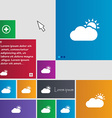 Partly Cloudy icon sign buttons Modern interface vector image