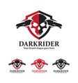 skull motorcycle badge with shield and handlebars vector image