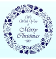 Blue circle christmas background vector image