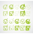 Set of hand-drawn check marks grunge checkmarks vector image
