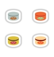 assembly paper stickers on white canned beef vector image