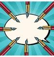 Fountain ink pens pop art retro background vector image