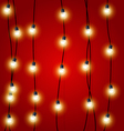 Hanging vertical Christmas Lights garlands vector image