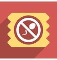 Spermicide Condom Flat Longshadow Square Icon vector image