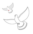 White Dove coloring book Flying white pigeon vector image