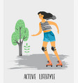 Woman in roller skates vector image