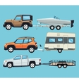 vehicle and trailer house and boat design vector image