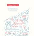 Your farm - line design brochure poster template vector image