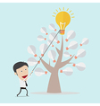 Business man harvest a bulb by using rope vector image