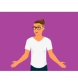 Hipster guy wearing small ponytail vector image