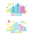 city and architecture logos in trendy bright vector image