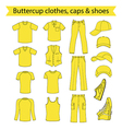Menswear headgear shoes buttercup collection vector image