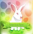 Easter white rabbit over rainbow background vector