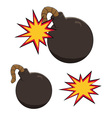 a cartoon bomb icon about to explode with burning vector image