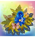 Autumn flower bunch with butterflies and dragonfly vector image