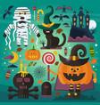 set of cute ghost cat castle scull pumpkin vector image