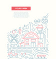 Your farm - line design brochure poster template vector image