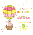 Baby Girl Cat with a Balloon - Baby Shower Card vector image