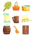 Russian Bathhouse Inventory Set vector image