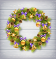 Christmas Wreath with Pine Branches Christmas vector image