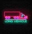 neon glowing long vehicle sign on a brick wall vector image