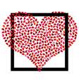 red heart from small hearts in black square vector image