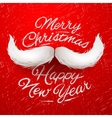 Santa moustache Merry Christmas card vector image