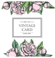 Vintage elegant card with peony flowers Black and vector image