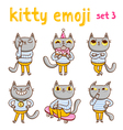 Kitty emoji set 3 vector image