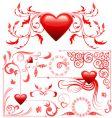 valentines card decoration set vector image vector image