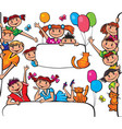 Kids standing behind placard vector image vector image