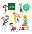 cartoon comic kids children at school vector image