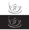 teapot with leaves symbol isolated on black and wh vector image