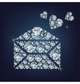 Open envelope with hearts made a lot of diamonds vector image vector image