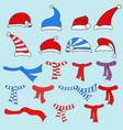 caps of santa claus and scarves set vector image