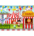 Children at the circus ticket booth vector image