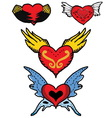 Red heart of angel and devil wings vector image