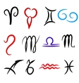 Set of zodiacs signs painted by hand Astrology vector image