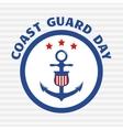 Symbol of coast guard on grey stripe background vector image