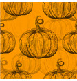 yellow pattern with sketch pumpkins vector image