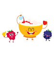 funny bowl of cottage cheese and raspberry vector image