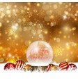 Snow globe on a Christmas background vector image