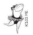 Linear dancing frog ballet dancer vector image