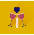Flat web icon with long shadow glasses of wine vector image