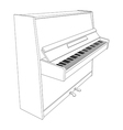 open piano contour with keyboard vector image