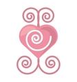 pink heart romantic ornament vector image