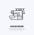 sewing machine overlock flat line icon logo vector image
