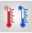 The thermometer icon High and Low temperature vector image
