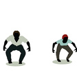 man and woman silhouette in Animation Jumping vector image