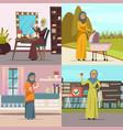 arabic woman concept icons set vector image